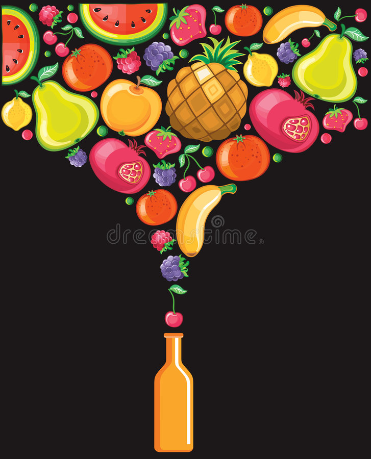 Soft-drink. Different types of delicious fruits combined in a shape of soft-drink. To see similar, please VISIT MY PORTFOLIO vector illustration