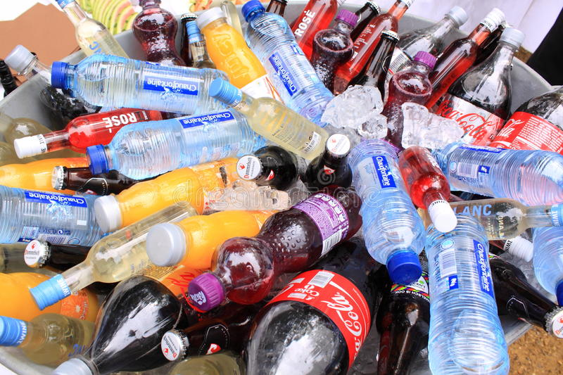 Soft drink bottles royalty free stock photo