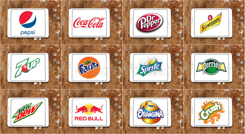 Soft drink brands and logos royalty free stock photography