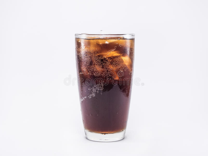 Soft drink is cool with ice cubes in full glass royalty free stock photography