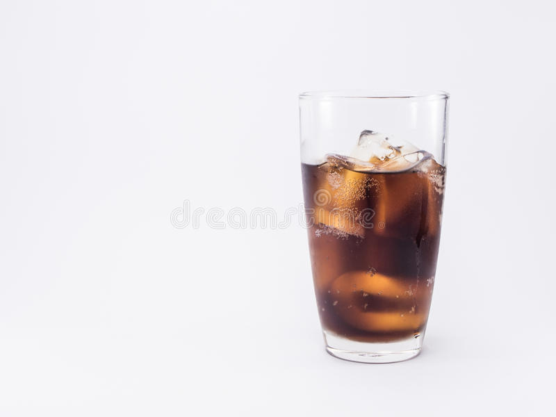Soft drink is cool and ice cubes in glass royalty free stock photo