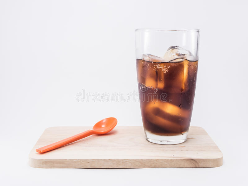 Soft drink is cool and ice cubes in glass royalty free stock photography