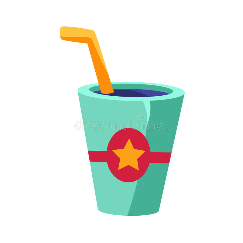 Soft Drink In Glass With A Straw, Cinema And Movie Theatre Related Object Cartoon Colorful Vector Illustration. Isolated Object Cinematography Entertainment stock illustration