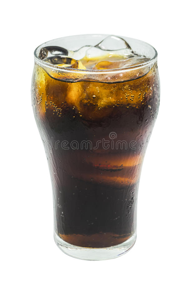 A soft drink in glass on white background stock images