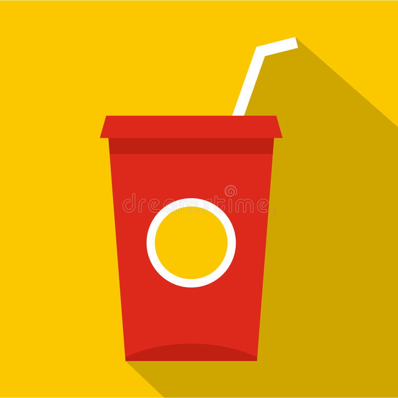 Soft drink in a red paper cup icon, flat style. Soft drink in a red paper cup with lid and straw icon. Flat illustration of soft drink in a red paper cup with stock illustration