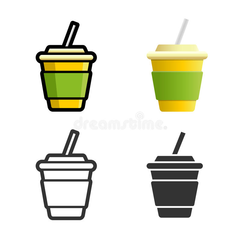 Soft drink vector colored icon set. Cola carbonated soft drink vector cartoon, colored, contour and silhouette styles icon set. Tasty fast food unhealthy drink vector illustration