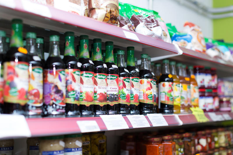 Soft drinks at beverage section royalty free stock photography