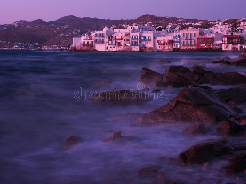 Soft Evening light in Little Venice, Mykonos Island, Greece. Evening light in Little Venice, Mykonos Island, Greece. In  , mykonos island, littlevenice, blue stock photos