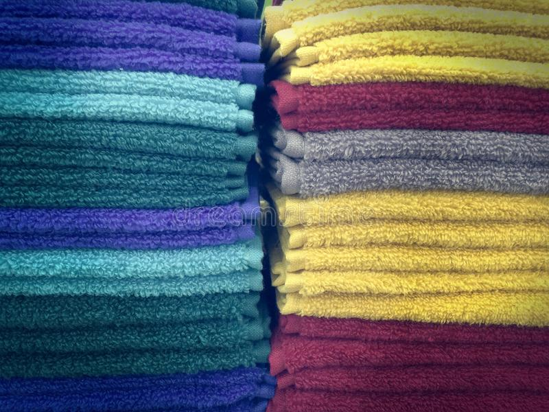 Soft Fluffy Colorful Towels royalty free stock photos