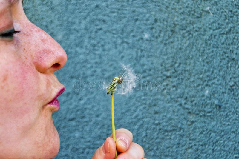 Soft focus of Caucasian white woman blowing a white dandelion flower on a green background royalty free stock image