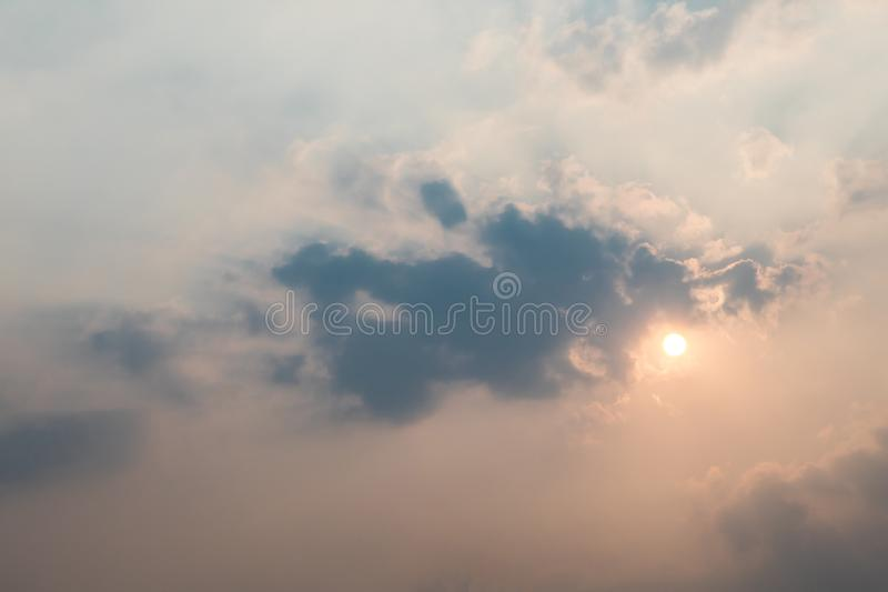 Soft focus on cloud and Sunlight through the blue sky at sunset or evening time. Amazing clouds royalty free stock photos