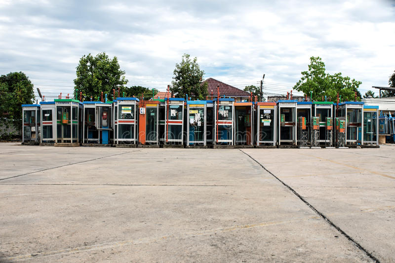 Soft Focus Colorful Vintage old phone booths royalty free stock photo