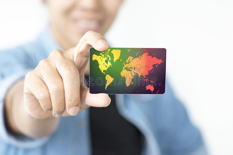 Soft focus of credit card in hand. stock image