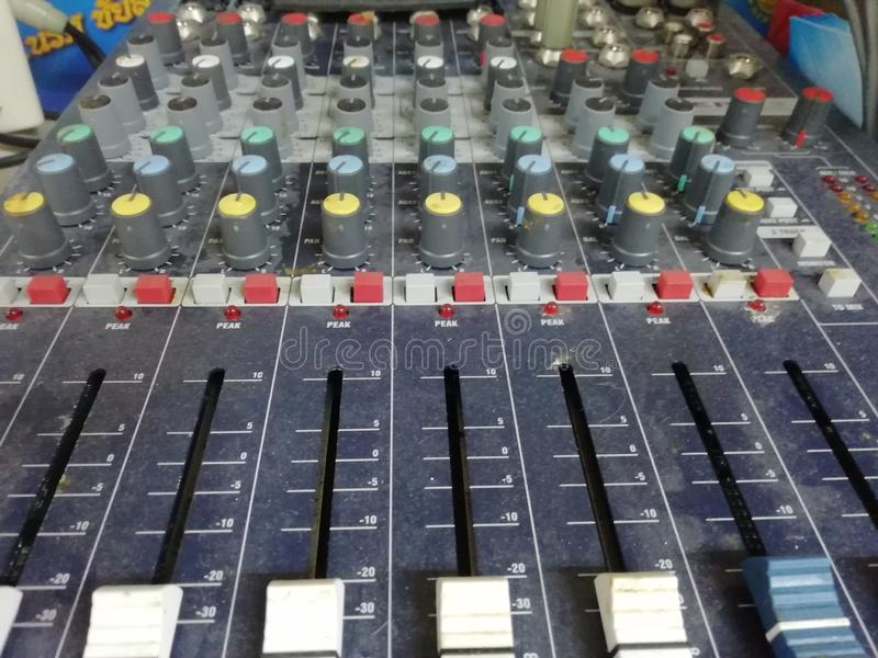 This is sound control in the control room. stock photography