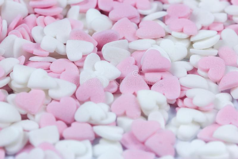 Soft focus pink and white heart candy pastel background. Soft focus pink and white heart candy pastel background for Valentines day stock photography