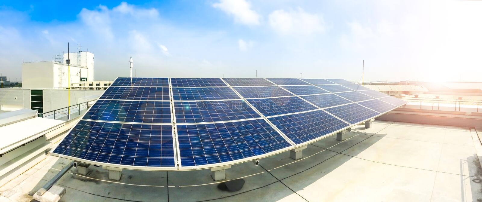Download Soft Focus Of Solar Panels Or Solar Cells On Factory Rooftop Or Terrace With Sun Light, Industry In Thailand, Asia. Stock Image - Image of background, electric: 79870605