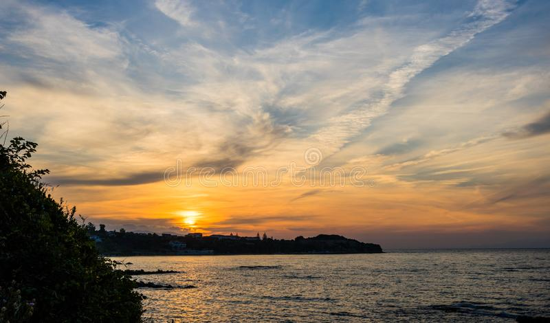 Dramatic golden sunset over Zakynthos stock photos