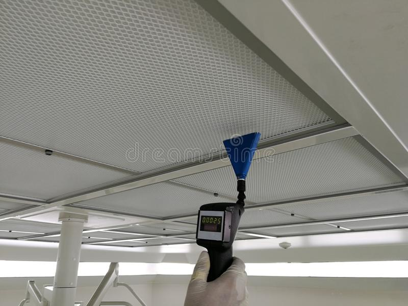 Soft focus to Scan air leak test of HEPA Filter. Supply air in Cleanroom stock photography
