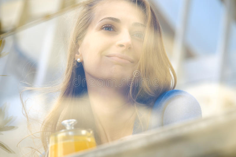 Soft focus young woman face portrait. Outdoor royalty free stock photo
