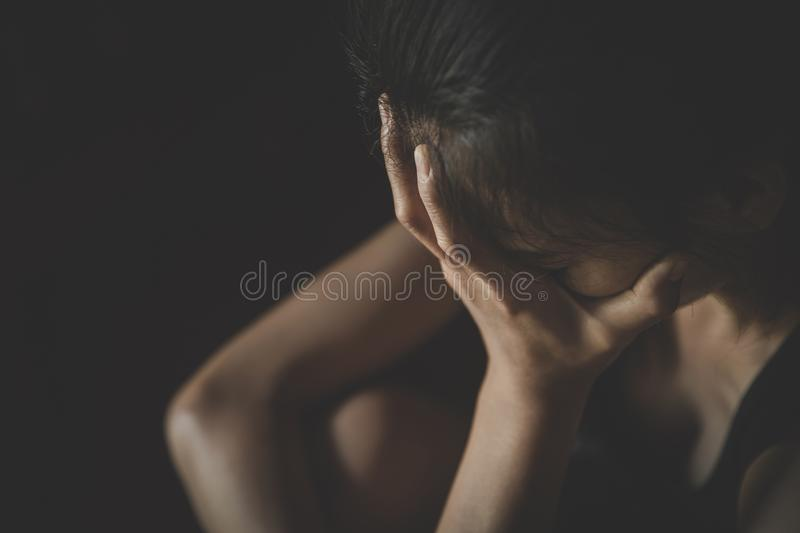 Soft  focus. young woman sad and fear stressful depressed emotional. stop abusing violence in women,person with health anxiety. royalty free stock images