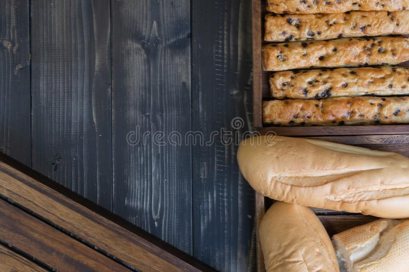 French baguette bread and chocolate chip stick bread. Soft french baguette bread and chocolate chip stick bread stock images