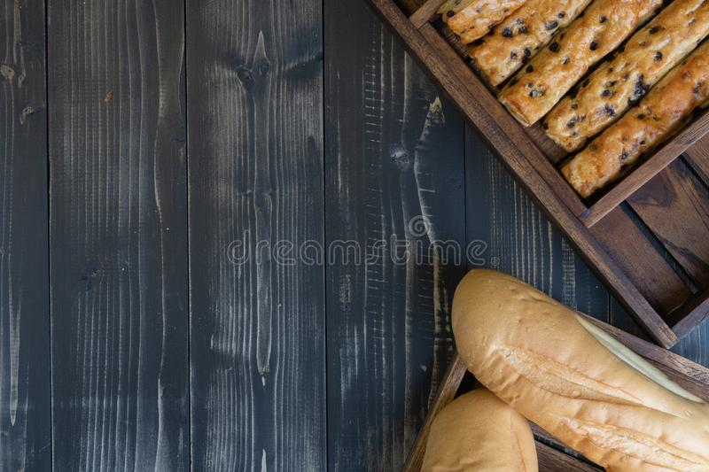 French baguette bread and chocolate chip stick bread. Soft french baguette bread and chocolate chip stick bread stock photos