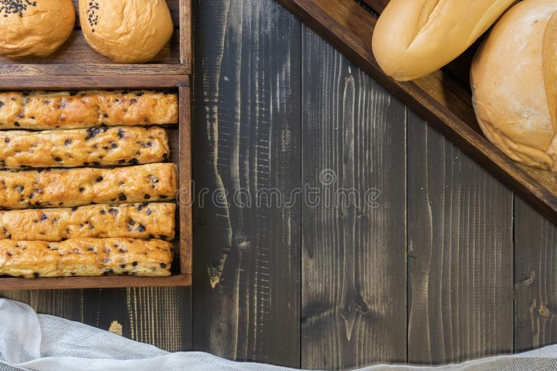 French baguette bread and chocolate chip stick bread. Soft french baguette bread and chocolate chip stick bread royalty free stock photos