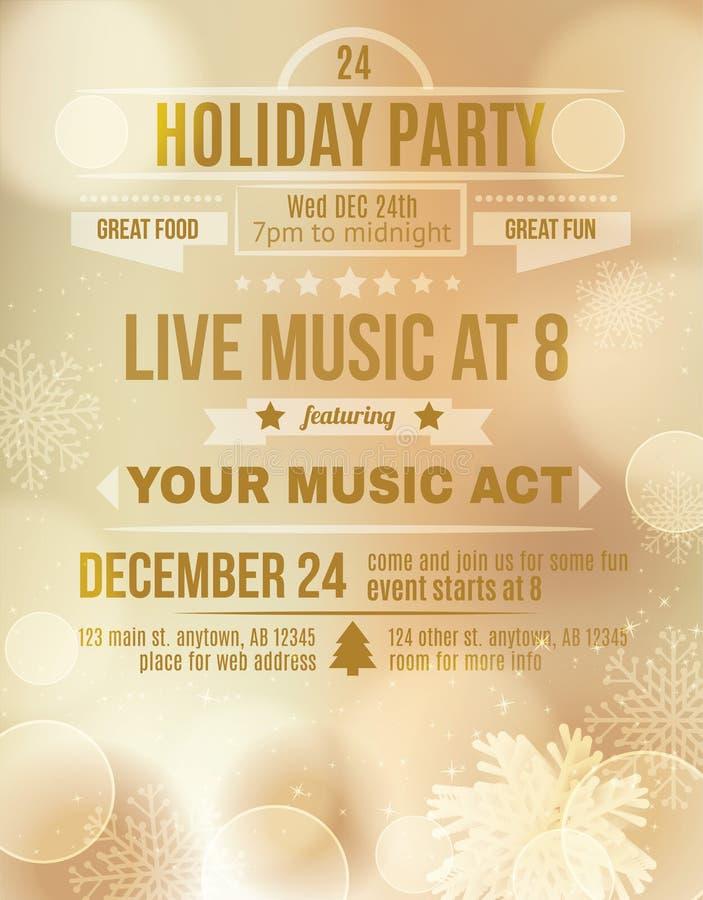 Soft Gold Holiday party invitation flyer. Elegant soft gold Christmas party invitation royalty free illustration