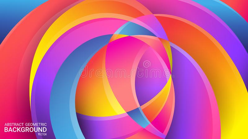 Bright abstract geometric background. Vector. Colorful colors of the rainbow. Distorted intersecting wavy lines. 3D effect, glow. Soft gradients and pastel stock illustration