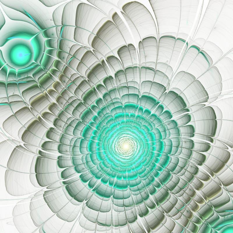 Soft green fractal flower. Digital artwork for creative graphic design stock illustration