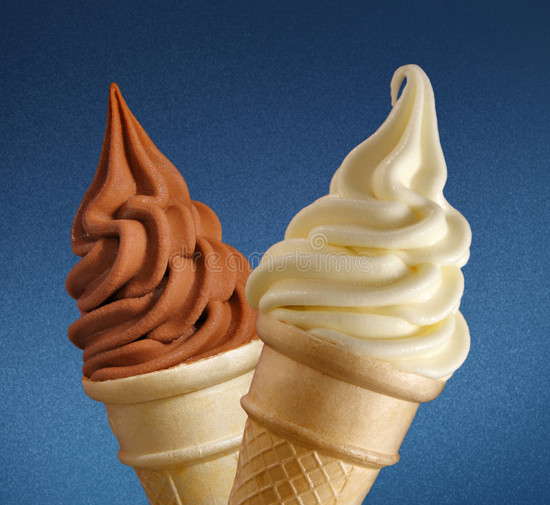 Soft ice cream on blue stock photography
