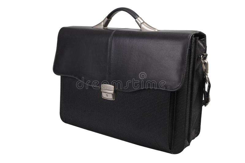 Soft Leather Briefcase. Isolated on white stock image