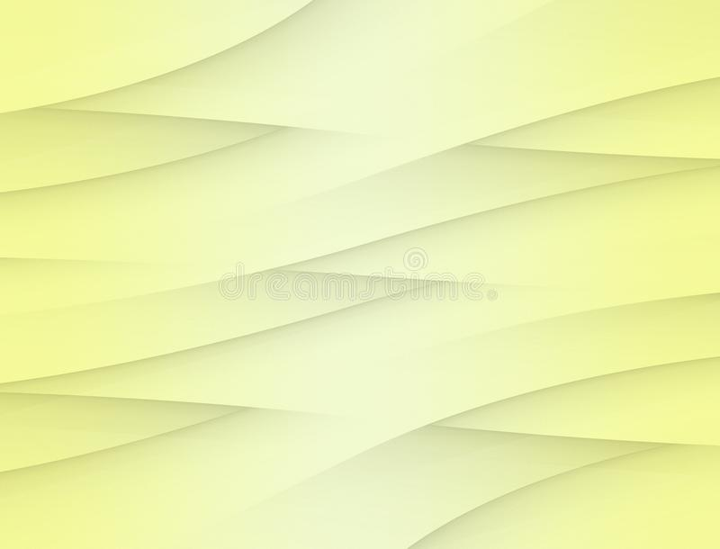 Soft lemon yellow curving weave abstract paper background illustration stock illustration