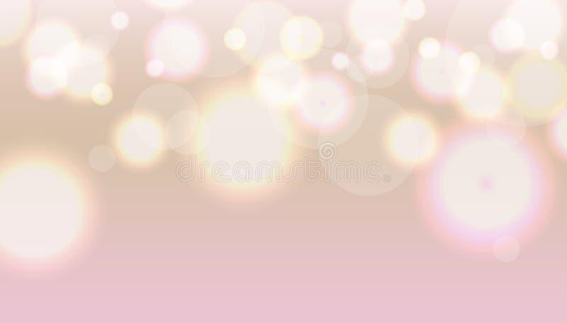 Soft light pink bokeh background. With lights blur royalty free illustration