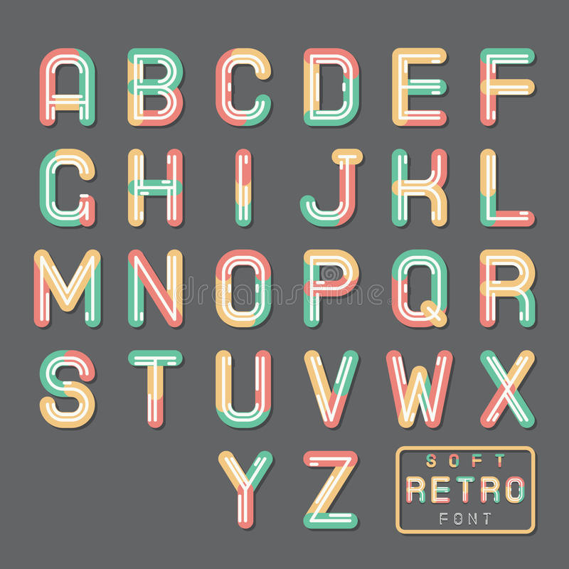 Soft Line Abstract Retro Vintage Hopster Alphabet A to Z Font Symbol Icon Vector Illustration royalty free illustration