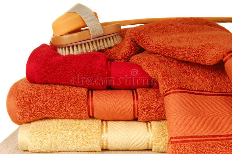 Soft Luxurious Towels With Soap And Brush Royalty Free Stock Photography