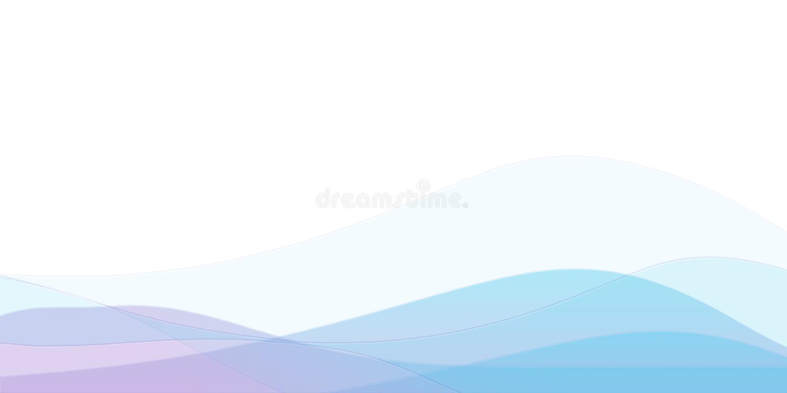 Soft minimal background. Waves in different colors on white background