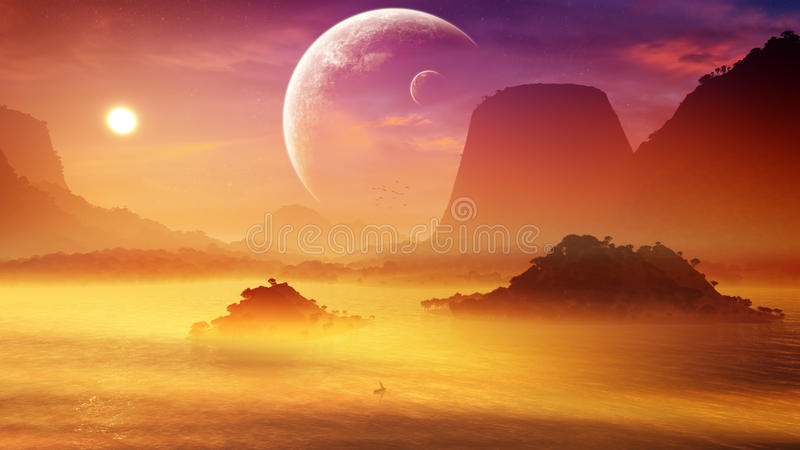 Soft Misty Fantasy Sunset. Soft misty sunset environment in a fantasy type of landscape with mountains, islands and lake. A neighboring planet with moon on the royalty free illustration