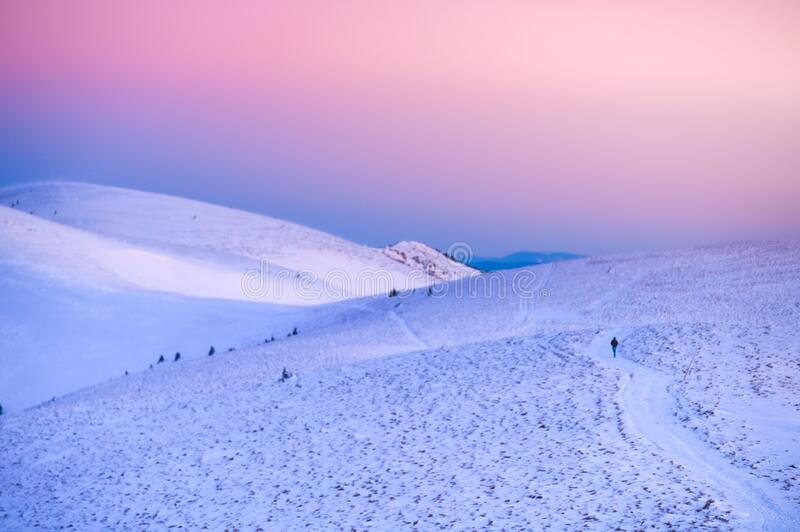 Soft morning light over the top of winter mountains Fatra, Slovakia. High Quality Photo stock photo