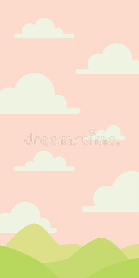Soft nature landscape with pink sky, green hills. Rural scenery. Sunrise time. Vector illustration in simple royalty free illustration