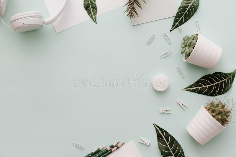 Soft Neutral Styled Desk Scenes With headphones, supplies. And potted cactus royalty free stock photography