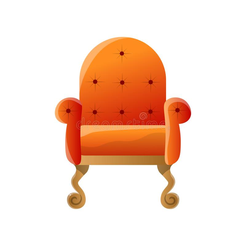 Soft orange lounge retro style moveable armchair isolated on white background royalty free illustration
