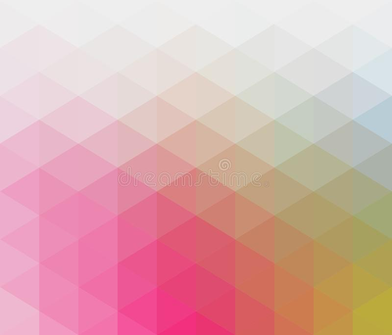 Soft pastel colored geometric pattern with triangular elements in red, orange, blue, green royalty free illustration