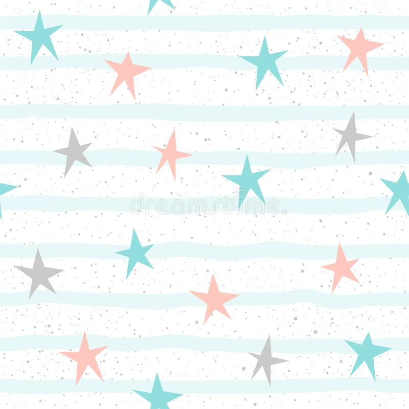 Soft pastel star seamless background. Grey, pink and blue star. royalty free illustration