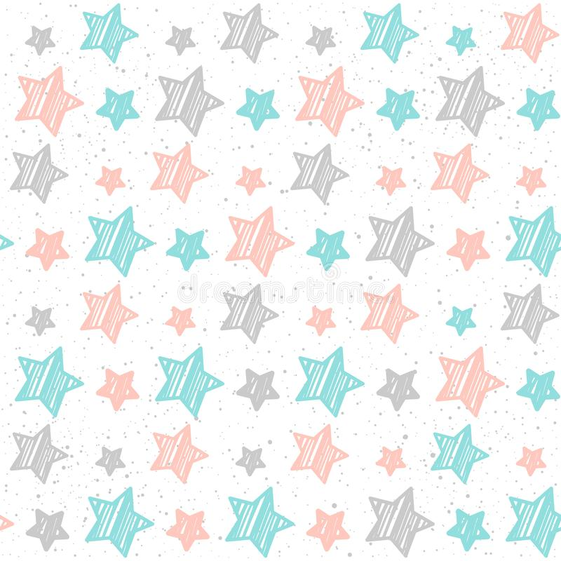Soft pastel star seamless background. Grey, pink and blue star. stock illustration