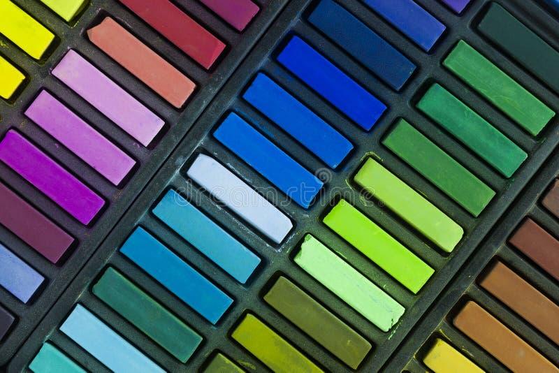 Soft Pastels. Artists soft pastels still life background royalty free stock photos