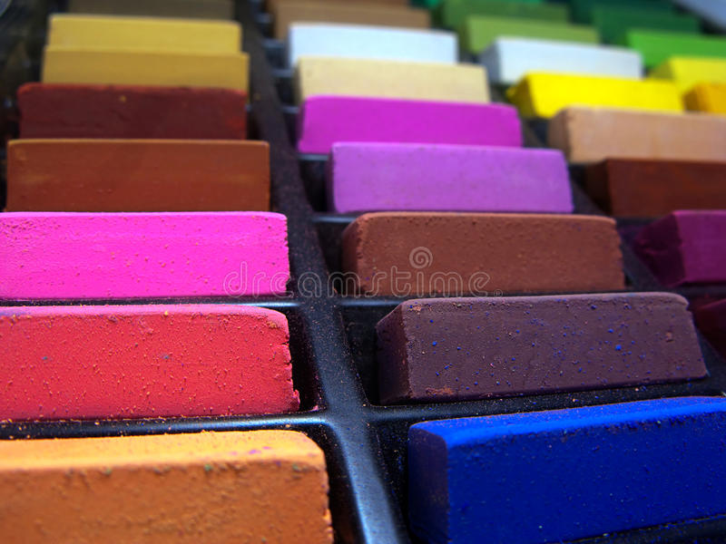 Soft pastels close up. Soft pastels in a box (close up royalty free stock photos