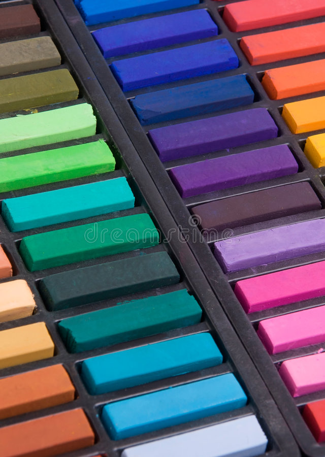 Soft pastels close up. Soft pastels in a box (close up royalty free stock photo