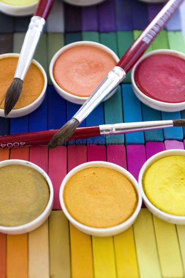 Soft pastels colors and aquarelles. Soft pastels (range of colors) and aquarelles royalty free stock photography