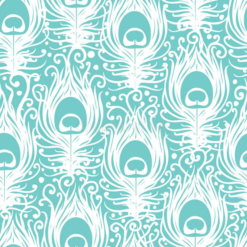 Soft Peacock Feathers Vector Seamless Pattern Stock Photo